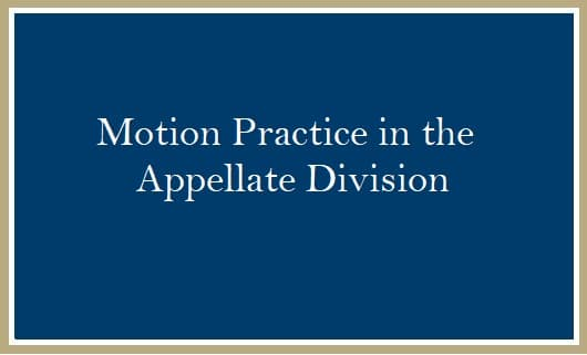 Motion Practice in the Appellate Division